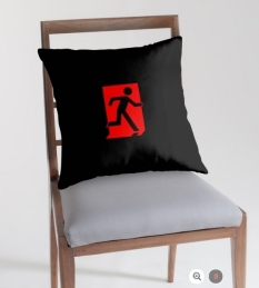 Running Man Fire Safety Exit Sign Emergency Evacuation Throw Pillow Cushion 162