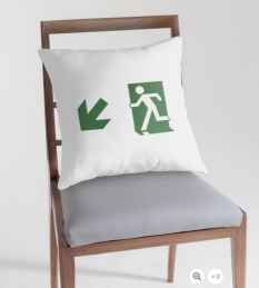 Running Man Fire Safety Exit Sign Emergency Evacuation Throw Pillow Cushion 20