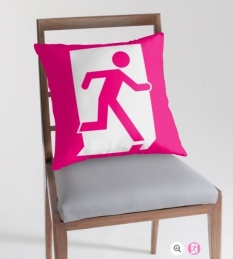 Running Man Fire Safety Exit Sign Emergency Evacuation Throw Pillow Cushion 23