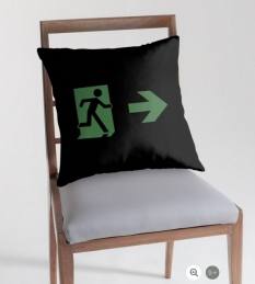 Running Man Fire Safety Exit Sign Emergency Evacuation Throw Pillow Cushion 25