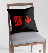 Running Man Fire Safety Exit Sign Emergency Evacuation Throw Pillow Cushion 3
