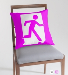 Running Man Fire Safety Exit Sign Emergency Evacuation Throw Pillow Cushion 34