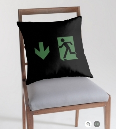 Running Man Fire Safety Exit Sign Emergency Evacuation Throw Pillow Cushion 35