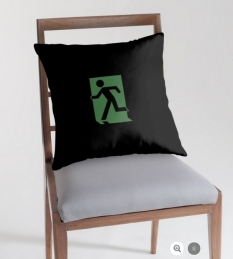 Running Man Fire Safety Exit Sign Emergency Evacuation Throw Pillow Cushion 36