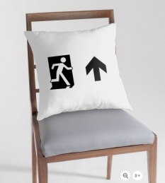Running Man Fire Safety Exit Sign Emergency Evacuation Throw Pillow Cushion 37