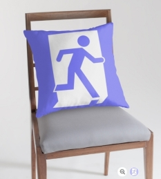 Running Man Fire Safety Exit Sign Emergency Evacuation Throw Pillow Cushion 45
