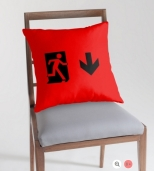 Running Man Fire Safety Exit Sign Emergency Evacuation Throw Pillow Cushion 54