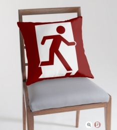 Running Man Fire Safety Exit Sign Emergency Evacuation Throw Pillow Cushion 56
