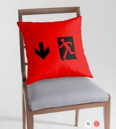 Running Man Fire Safety Exit Sign Emergency Evacuation Throw Pillow Cushion 61
