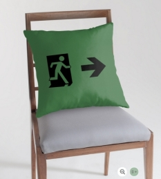 Running Man Fire Safety Exit Sign Emergency Evacuation Throw Pillow Cushion 64