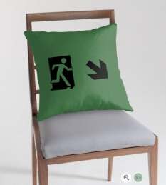 Running Man Fire Safety Exit Sign Emergency Evacuation Throw Pillow Cushion 66