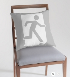Running Man Fire Safety Exit Sign Emergency Evacuation Throw Pillow Cushion 67