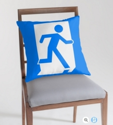 Running Man Fire Safety Exit Sign Emergency Evacuation Throw Pillow Cushion 77