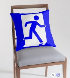 Running Man Fire Safety Exit Sign Emergency Evacuation Throw Pillow Cushion 78