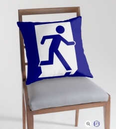 Running Man Fire Safety Exit Sign Emergency Evacuation Throw Pillow Cushion 79