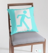 Running Man Fire Safety Exit Sign Emergency Evacuation Throw Pillow Cushion 80