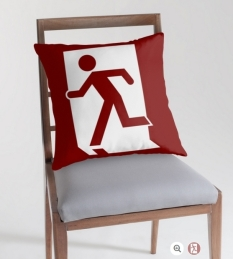 Running Man Fire Safety Exit Sign Emergency Evacuation Throw Pillow Cushion 82