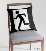 Running Man Fire Safety Exit Sign Emergency Evacuation Throw Pillow Cushion 83
