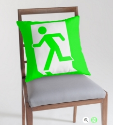 Running Man Fire Safety Exit Sign Emergency Evacuation Throw Pillow Cushion 86