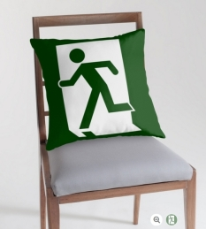 Running Man Fire Safety Exit Sign Emergency Evacuation Throw Pillow Cushion 87
