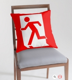 Running Man Fire Safety Exit Sign Emergency Evacuation Throw Pillow Cushion 88