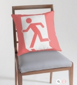 Running Man Fire Safety Exit Sign Emergency Evacuation Throw Pillow Cushion 89