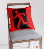 Running Man Fire Safety Exit Sign Emergency Evacuation Throw Pillow Cushion 91