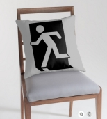 Running Man Fire Safety Exit Sign Emergency Evacuation Throw Pillow Cushion 92