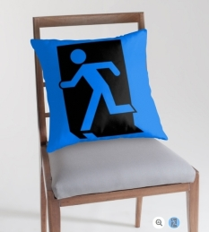 Running Man Fire Safety Exit Sign Emergency Evacuation Throw Pillow Cushion 93