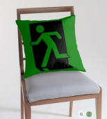 Running Man Fire Safety Exit Sign Emergency Evacuation Throw Pillow Cushion 95