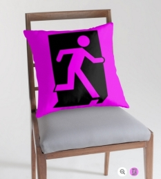 Running Man Fire Safety Exit Sign Emergency Evacuation Throw Pillow Cushion 96