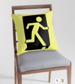 Running Man Fire Safety Exit Sign Emergency Evacuation Throw Pillow Cushion 97