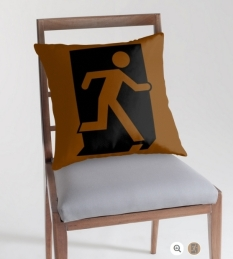Running Man Fire Safety Exit Sign Emergency Evacuation Throw Pillow Cushion 98