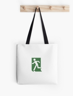 Running Man Fire Safety Exit Sign Emergency Evacuation Tote Shoulder Carry Bag 104