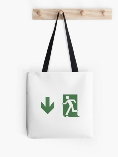 Running Man Fire Safety Exit Sign Emergency Evacuation Tote Shoulder Carry Bag 105