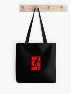 Running Man Fire Safety Exit Sign Emergency Evacuation Tote Shoulder Carry Bag 129
