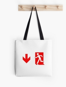 Running Man Fire Safety Exit Sign Emergency Evacuation Tote Shoulder Carry Bag 132