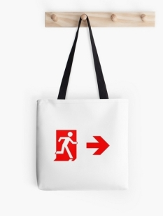 Running Man Fire Safety Exit Sign Emergency Evacuation Tote Shoulder Carry Bag 141