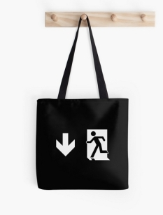 Running Man Fire Safety Exit Sign Emergency Evacuation Tote Shoulder Carry Bag 145