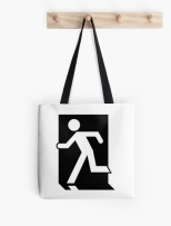 Running Man Fire Safety Exit Sign Emergency Evacuation Tote Shoulder Carry Bag 24