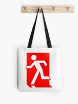 Running Man Fire Safety Exit Sign Emergency Evacuation Tote Shoulder Carry Bag 29