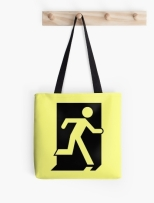 Running Man Fire Safety Exit Sign Emergency Evacuation Tote Shoulder Carry Bag 36