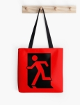 Running Man Fire Safety Exit Sign Emergency Evacuation Tote Shoulder Carry Bag 43