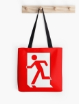 Running Man Fire Safety Exit Sign Emergency Evacuation Tote Shoulder Carry Bag 45