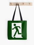 Running Man Fire Safety Exit Sign Emergency Evacuation Tote Shoulder Carry Bag 46