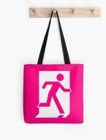 Running Man Fire Safety Exit Sign Emergency Evacuation Tote Shoulder Carry Bag 63