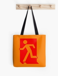 Running Man Fire Safety Exit Sign Emergency Evacuation Tote Shoulder Carry Bag 69