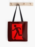 Running Man Fire Safety Exit Sign Emergency Evacuation Tote Shoulder Carry Bag 70