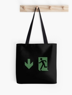 Running Man Fire Safety Exit Sign Emergency Evacuation Tote Shoulder Carry Bag 92