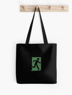 Running Man Fire Safety Exit Sign Emergency Evacuation Tote Shoulder Carry Bag 97